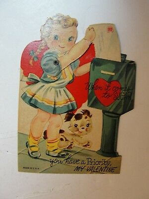 Vintage Mechanicial Die Cut Valentine**girl Mailing A Letter**circa Early 1900's