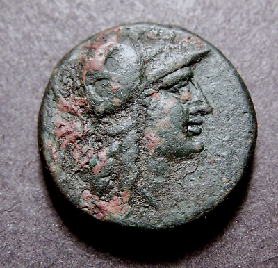 Greek Coin, Helmeted Athena & Battle Trophy on Aegean Sea after 133 BC
