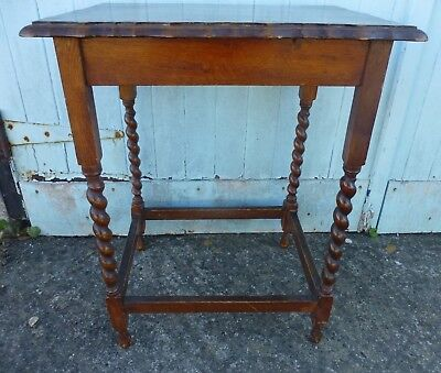 Vintage Wooden Oak Side Hall Table Barley Twist Legs Pie Crust Top
