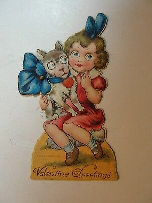 Vintage Mechanicial Die Cut Stand Up Valentine**girl With Dog**circa Early1900's