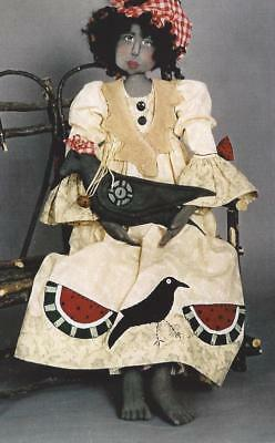 Pattern-Primitive Folk Art Gal With Her Crow!  Awesome Outfit! Mother Earth & Me