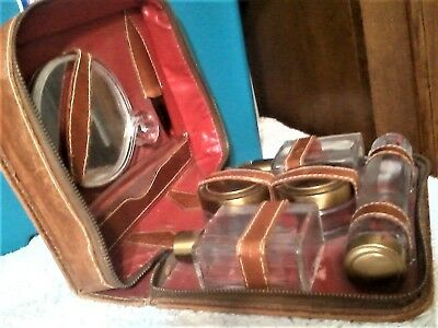 Neat Collectible Vintage Leather Men's Travel 8 Piece Grooming Kit