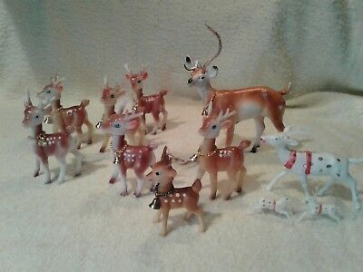 Vintage Lot Soft Plastic & Rubber Christmas Reindeer with bells Hong Kong Japan