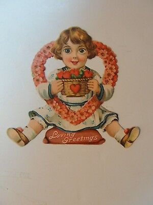 Vintage Mechanicial Die Cut Valentine**girl Hoding Heart**circa Early1900's