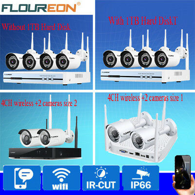 1TB HDD Wireless Wifi CCTV IP Camera System Home Security Kit 4CH 1080P DVR NVR