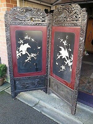 Antique Chinese Room Divider Folding Dressing Screen Panel Display / Restoration