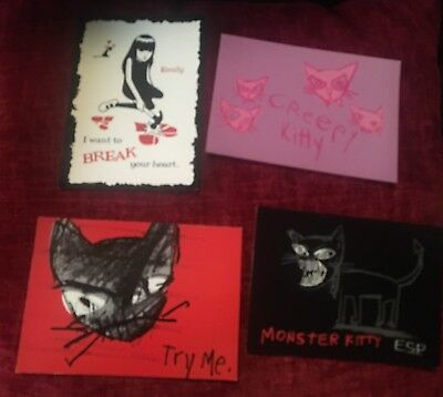 Emily The Strange Set Of 4 Postcards New Never Used Retired Rare Kitty Goth