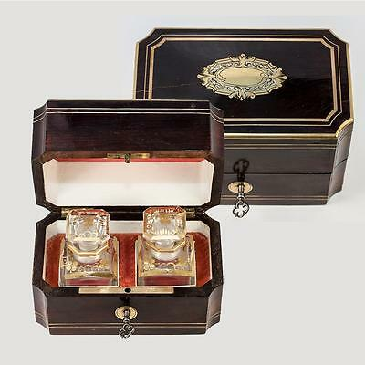 Antique French Napoleon III Era Scent Box, Casket with Baccarat Perfume Bottles