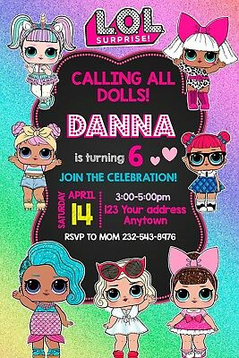 LOL SURPRISE DOLL Birthday party invitations personalized you print
