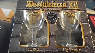 RARE Westvleteren XII 12 Trappist Beer Collector Glass Set of 2 AND BOX