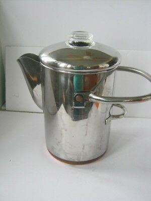 14 Cup Revere Ware Copper Clad Stainless Steel Coffee Pot Percolator