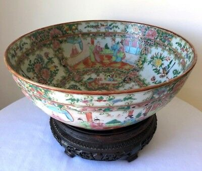 """ANTIQUE CHINESE FAMILLE ROSE MEDALLION PUNCH BOWL / CENTERPIECE on STAND 11-3/4"""""""