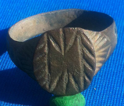 Ancient Ring Roman Bronze Double Axe Engraved