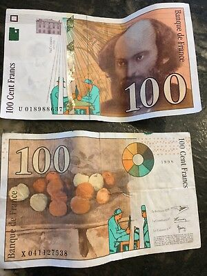 """France 100 Francs 1998 Currency Banknote FINE++ """"Cezanne"""" Money Collection"""