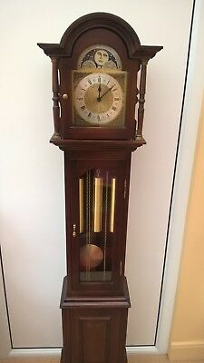 """Grandmother clock, 62"""" tall, moon phase, 3 weights, German FHS movement"""