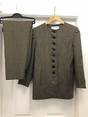 VINTAGE JAEGER Suit Checked Black Beige Top UK Size 12 Pants Size 14 virgin wool