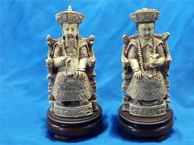 Vintage Chinese Resin Figures Of Immortals Statues Figurine  wood bases Oriental