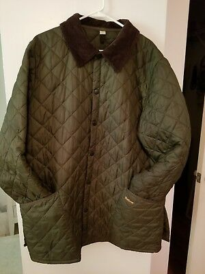 Men's BARBOUR Liddesdale Snap-Button Quilted Jacket XL Olive Green Elite Royal