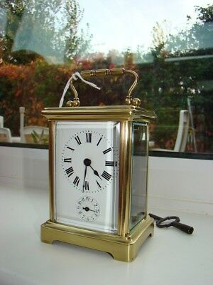 French 8 day alarm carriage clock working well, Chelsea PH 1910 engraved on top