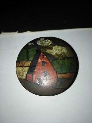 Vintage Treen Wooden Snuff Box Hand Painted Dutch Farmhouse