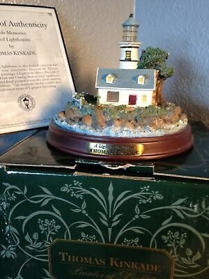 "Thomas Kinkade Seaside Memories ""A Light In The Storm"" Lighted Lighthouse,"