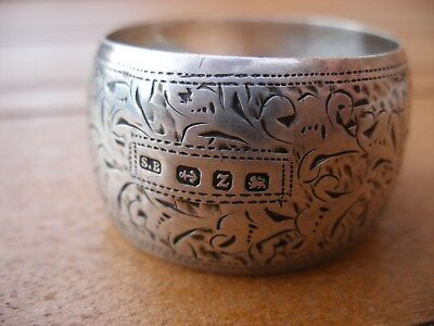1899 Sterling Silver Napkin Ring Decorated Blank Cartouche Maker S.b Birmingham
