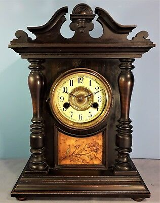 Antique HAC 14 Day Striking Mantel Clock, Marquetry Inlaid, Made in Wurttemberg