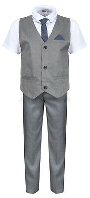 Boys Waistcoat Set Grey Boys Wedding Suit Page Boy Party Prom 9 mths to 14 Years