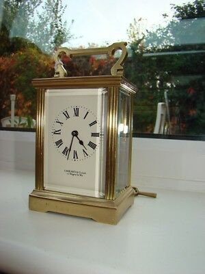 "Garrard 8 day French carriage clock working well glass & dial good 5""3/4"" high"