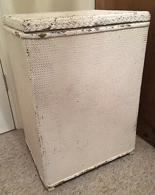 White Lloyd Loom Wicker Laundry Basket  Retro/Vintage/Shabby Chic/ Rectangular