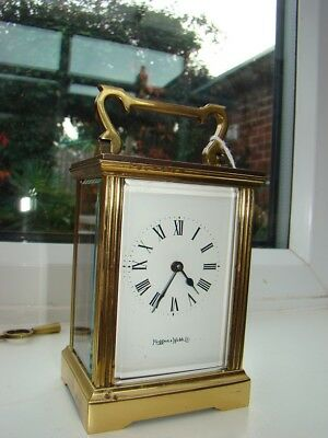 "Mappin & Webb London  8 day French carriage clock working well 5""3/4"" high"