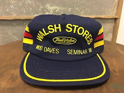 Vintage WALSH STORES 1988 Mesh  SnapBack Trucker Hat Patch 3 Stripes Made In Usa