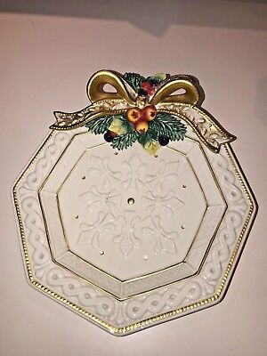 """Fitz & Floyd~8 1/2"""" Snowy Woods Christmas Bow Canape Platter~Beautiful!"""
