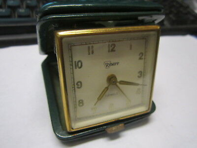 Vintage & Rare Rumpp 7 Jewels Wind Up Alarm Clock In Case ~ Works Perfect