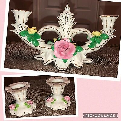 Antique Dresden Pink Rose Candle Holder Set