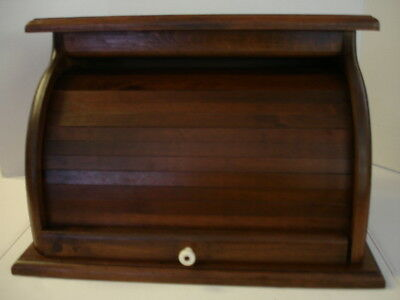 Vintage Large Wooden Roll Top BREAD BOX