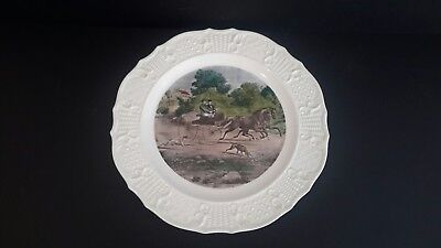 "LIFE IN THE COUNTRY Currier and Ives Stagecoach Dinner Plate 10"" Vintage"