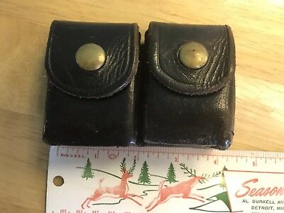 Vintage JAY-PEE Black Leather Ammo/Cartridge Holder Belt Accessory Double Pouch