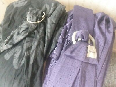Ring Sling Lot Of 2 - Cotton Floral Black/and Purple water proof - EUC