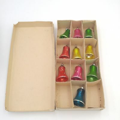 Lot of 10 Antique Glass Bell Christmas Ornaments Red/Yellow/Green/Blue/Pink