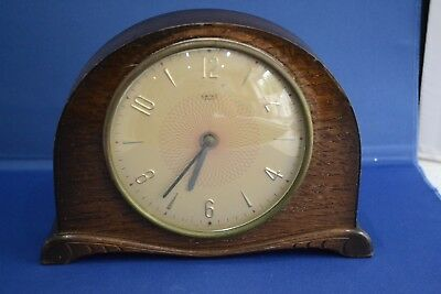 Vintage Smiths 8 day Mechanical Mantle Clock in oak case for Spares or Repair