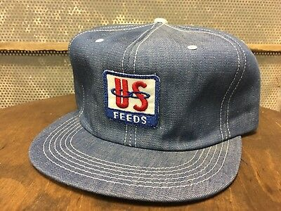 Vintage US FEEDS Denim SnapBack Trucker Hat Patch K PRODUCTS Made In USA