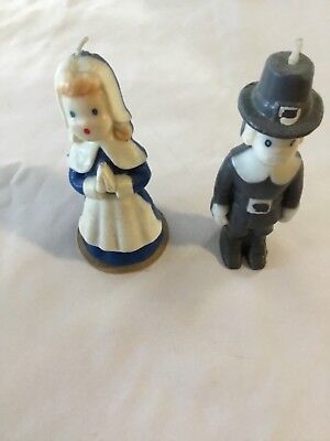 VINTAGE GURLEY PILGRIM THANKSGIVING CANDLEs 5 3/4 inches