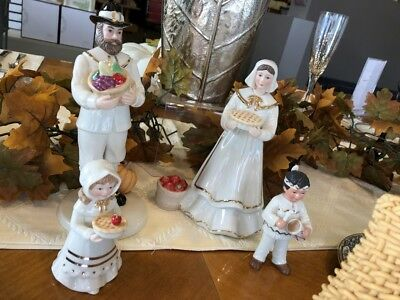 New Lenox Giving Thanks Thanksgiving Pilgrim Family Figurines New in Box