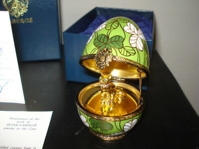 FABERGE Limoges Clover CAT Egg, Signed & Numbered.  New in Box w/ Paperwork!