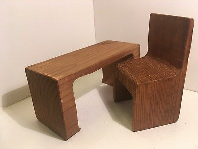 Vintage Dollhouse Miniatures Large Table & Chair Set #73