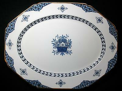 """Vintage Platter 12 ¼"""" X 9 ½"""" Enoch Wood & Sons Woods Ware England Blue Bombay"""