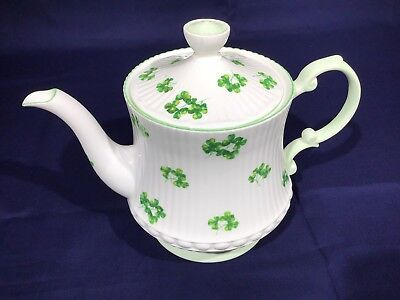 Queen's Fine Bone China Teapot Shamrock Pattern made in England