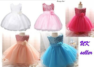 Baby Girls Sequin Flower Girl Princess Gown 1 Year Birthday Dress other colours