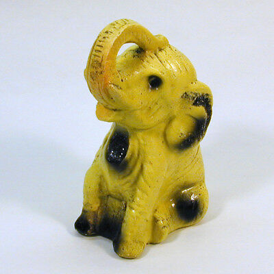 Vintage Chalkware Elephant Carnival Prize 1940s - 50s Yellow w Raised Trunk